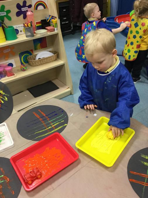 Painting is something we do a lot! Exploring colours and patterns.