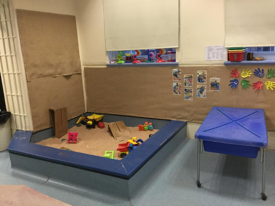 Our large sand pit has lots of different toys in every week!