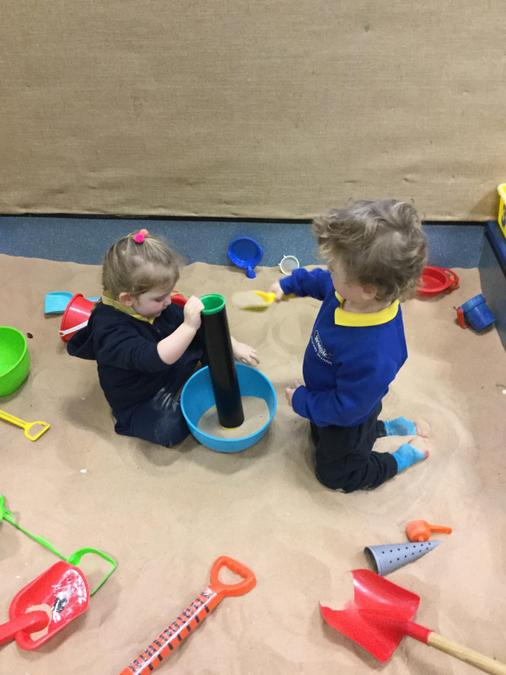 Everyone in Nursery loves the sand!