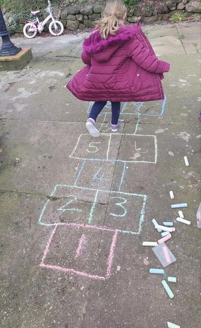 Hollie has made her own hopscotch!