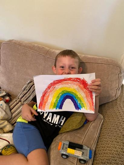 What a beautiful rainbow Marley has made!