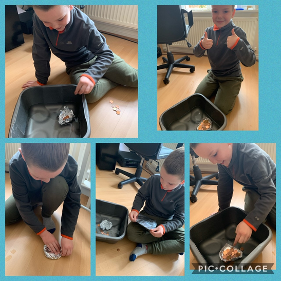 Ethan had a go at today's challenge. He said, 'On my first try I rushed a bit so the boat only held 9p. Whoops! On my next go I made sure I folded the sides to make it stronger and was careful when I placed the pennies on it, it held 22p this time!'