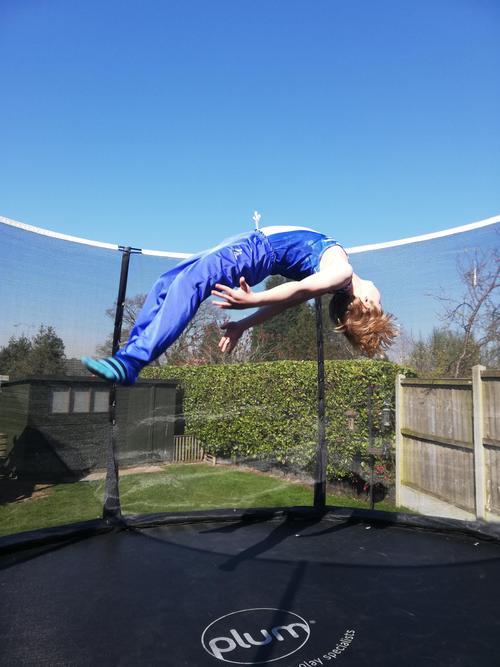 Sean practicing his trampolining.