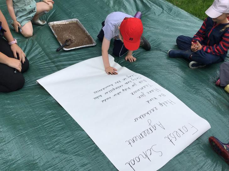 Working together to form an agreement of expectations when at Forest School then signing i