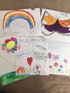 Here are some of Amy and her sister's art work they have been sent to a residential home
