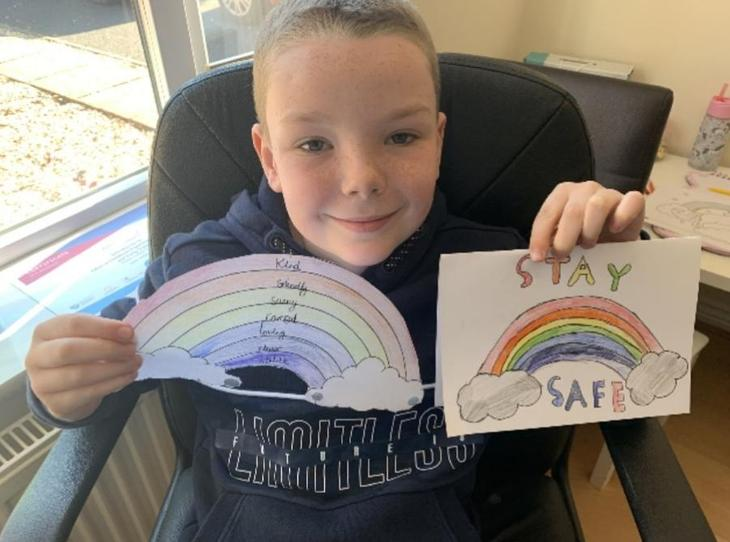 On Tuesday, Ethan made a rainbow for our window and wrote adjectives in it to describe himself. He then made some cards and posted them to our neighbours.