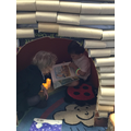 Reading buddies in our log cabin