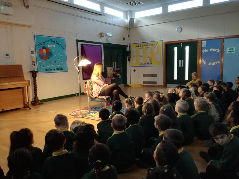 Mrs Brown read to the school on Tuesday.