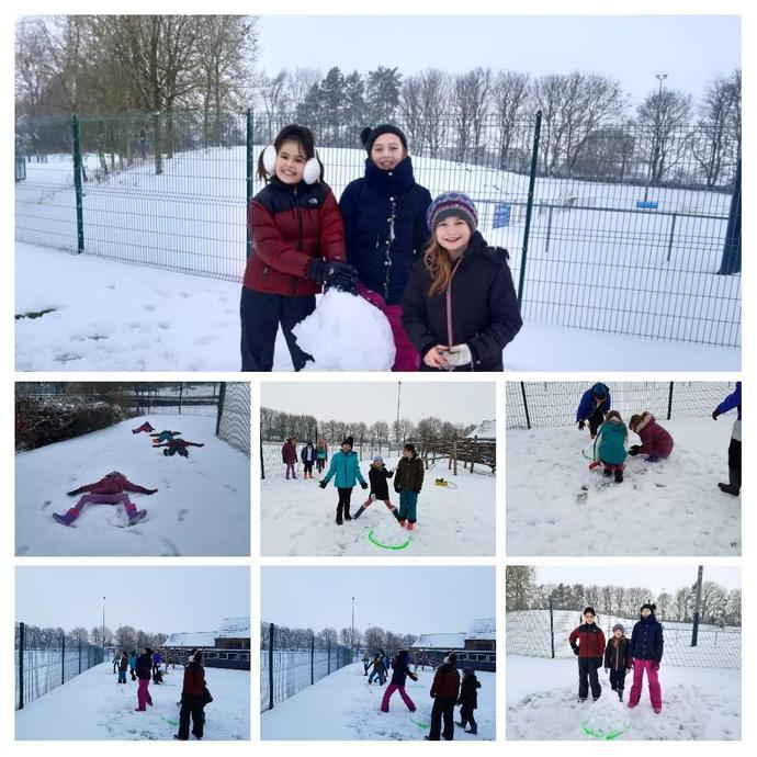 Sapphire & Ruby 'bubble' enjoy PE in the snow!