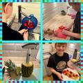 Leo made some fantastic fruit kebabs and thoroughly enjoyed eating them!