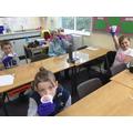 Children in school enjoyed making fruit smoothies.