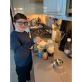 Ethan was working hard in the kitchen...