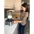 Anna made a smoothie...