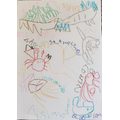 Oliver has been drawing sea creatures