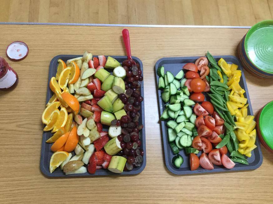 Our fruit and vegetable platter.