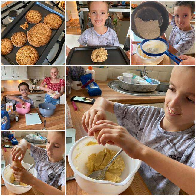 He made delicious cookies with his sister.