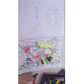 Writing my name and colouring