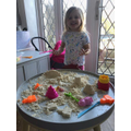 Messy play with moon sand