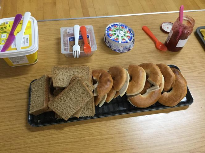 The children make their own sandwiches.