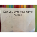I can practise writing my name