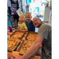 Enjoying our home made pizzas