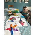 Oliver's sea creature paintings