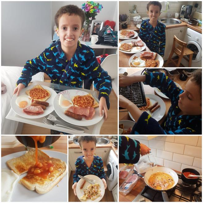 Louis made a tasty breakfast for his family.