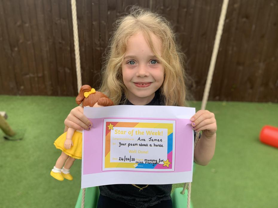 Ava with her certificate from mum :)