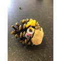Piotr made a lovely hedgehog from a pinecone.