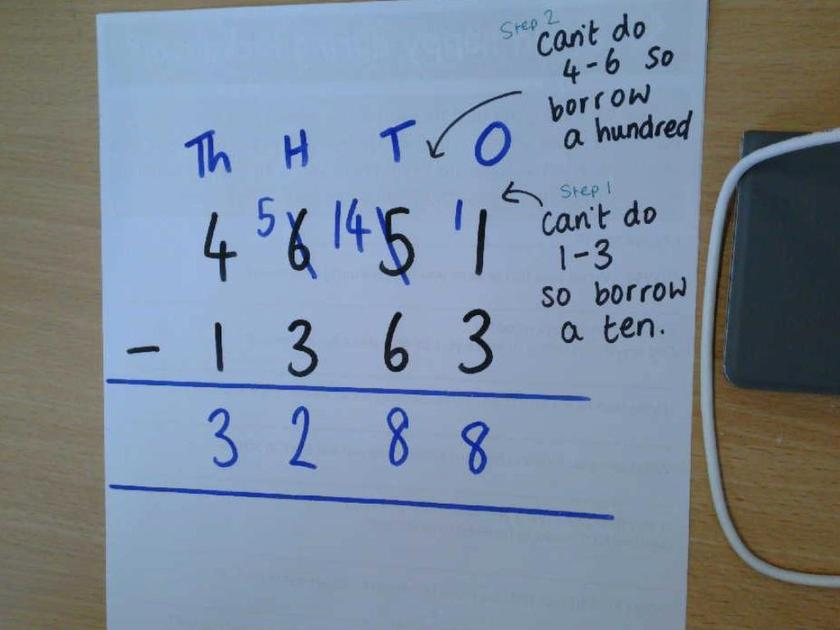 Example of using column subtraction to calculate 4651 - 1363