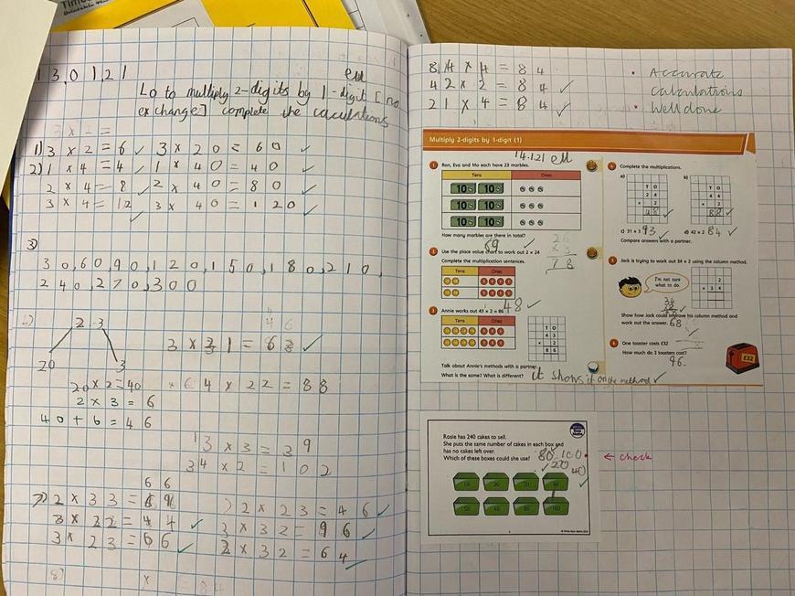 Sam's fantastic times-table work!