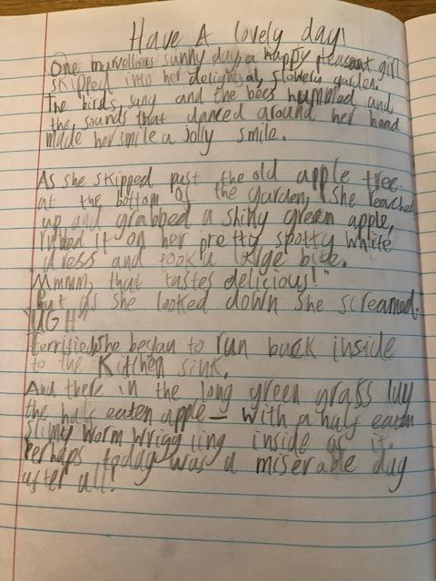 Zach's reading comprehension story with great use of adjectives!