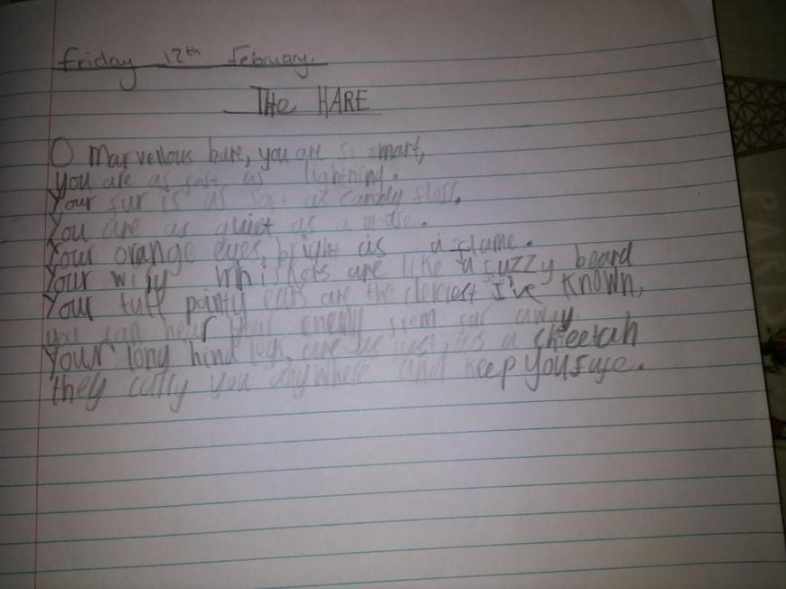 Zach's thoughtful poem!