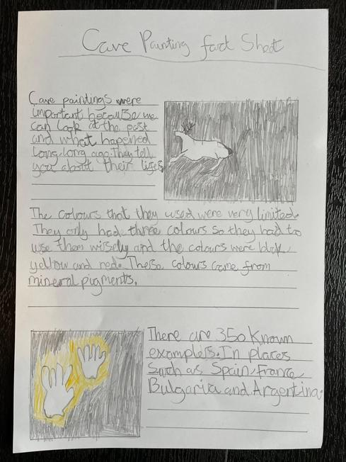 Lily's wonderful cave painting information sheet!