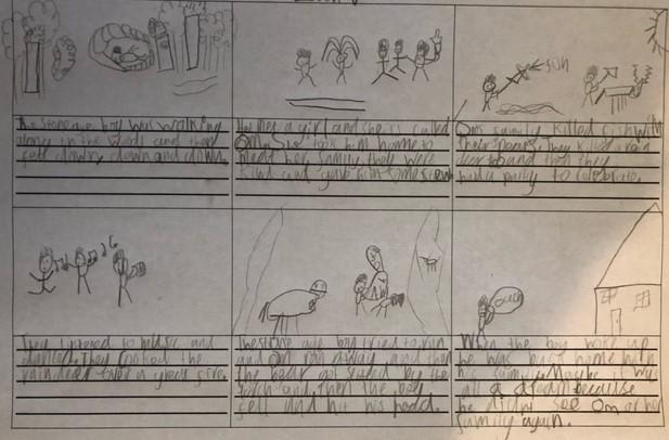 A superb story board from Zach all about 'Stone Age Boy'