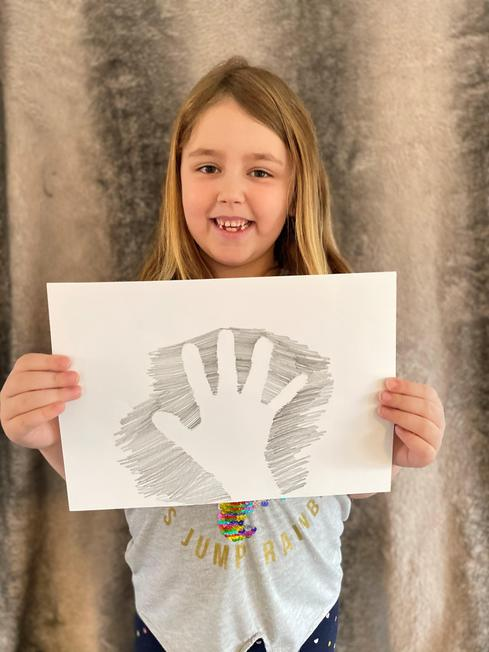 A fabulous hand print cave painting.