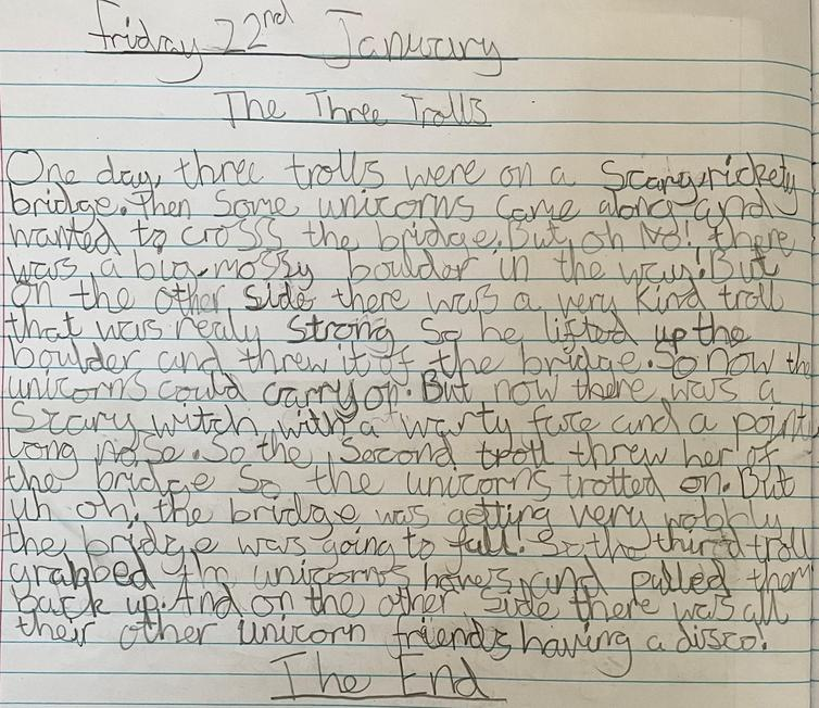 Lily's troll story with a fabulous use of her 2a sentences!