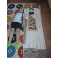 Oscar and his awesome life-size Stone Age person!