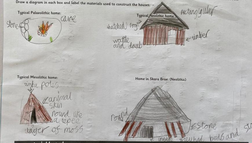 Great drawings of Stone Age homes, Oscar!