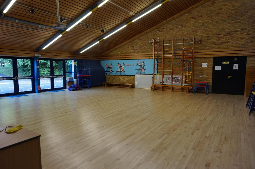 We have assemblies, PE, drama and lunch in here