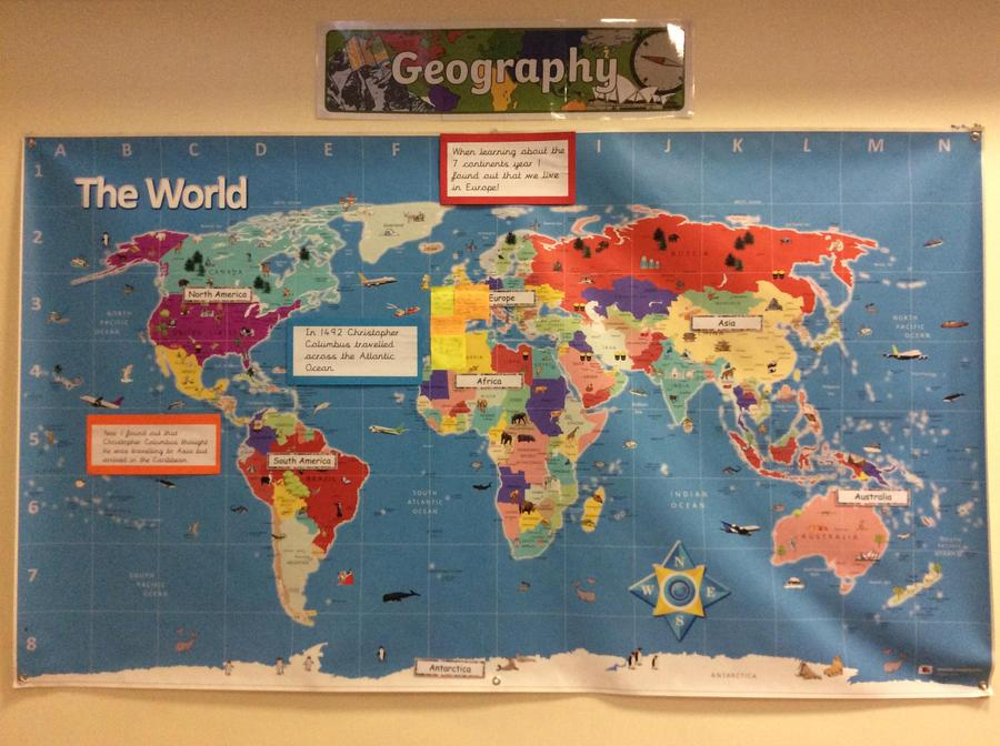 Each class will add to the wordl map in the hall as they learn about different countries.