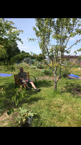 Enjoying a rest on my allotment at the weekend