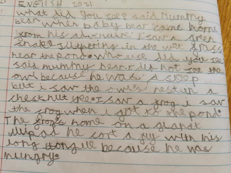 Ben's writing. Baby bear met a slithering snake!