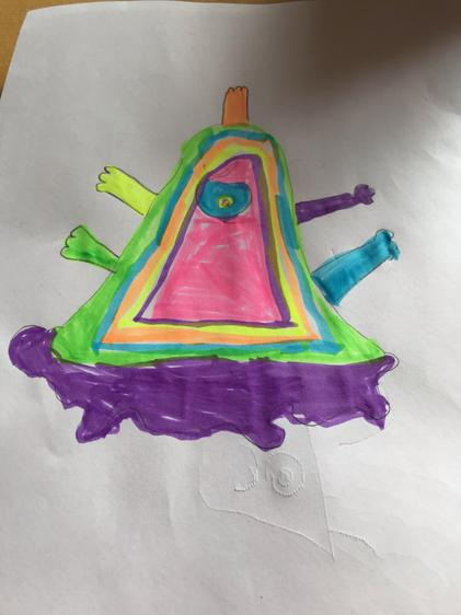 Darcy's multi-coloured alien with an arm coming out of his head!