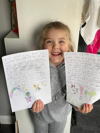 A very proud author with a lovely smily face. You are a brilliant writer Annalese!