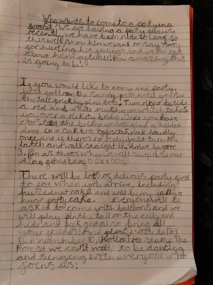 Amali's beautiful instruction writing!