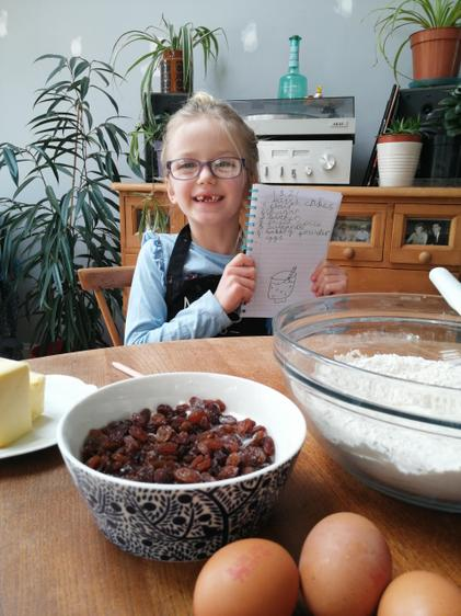 Martha making 'pice ar y maen' (Welsh cakes) for St. David's day!