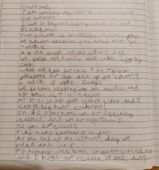 A letter to China about Blackhorse Primary School by Ben