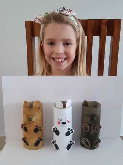Cerys and her three bears!