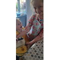 Bethany and Isla doing some baking